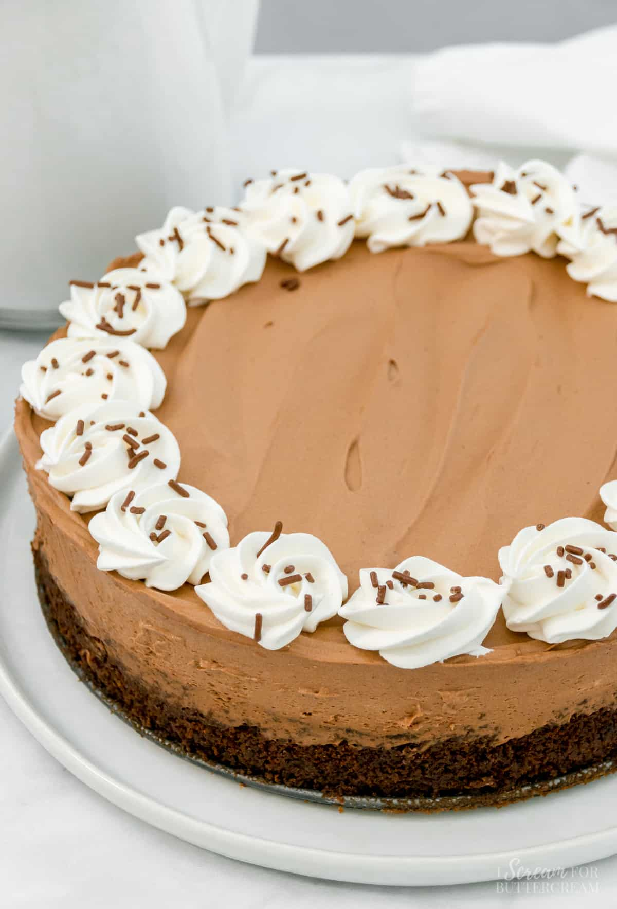 top view of chocolate cake with whipped cream