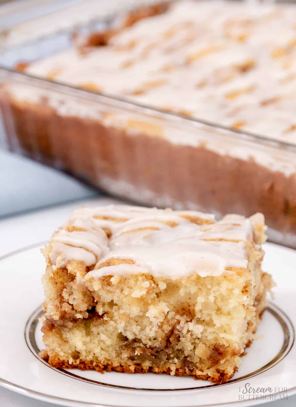 cinnamon roll cake close up on a plate