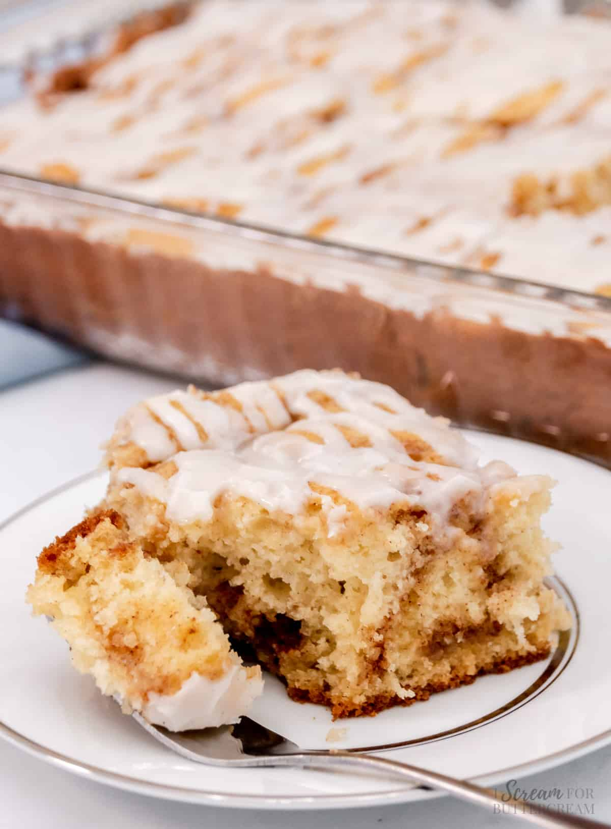 cinnamon roll cake with fork