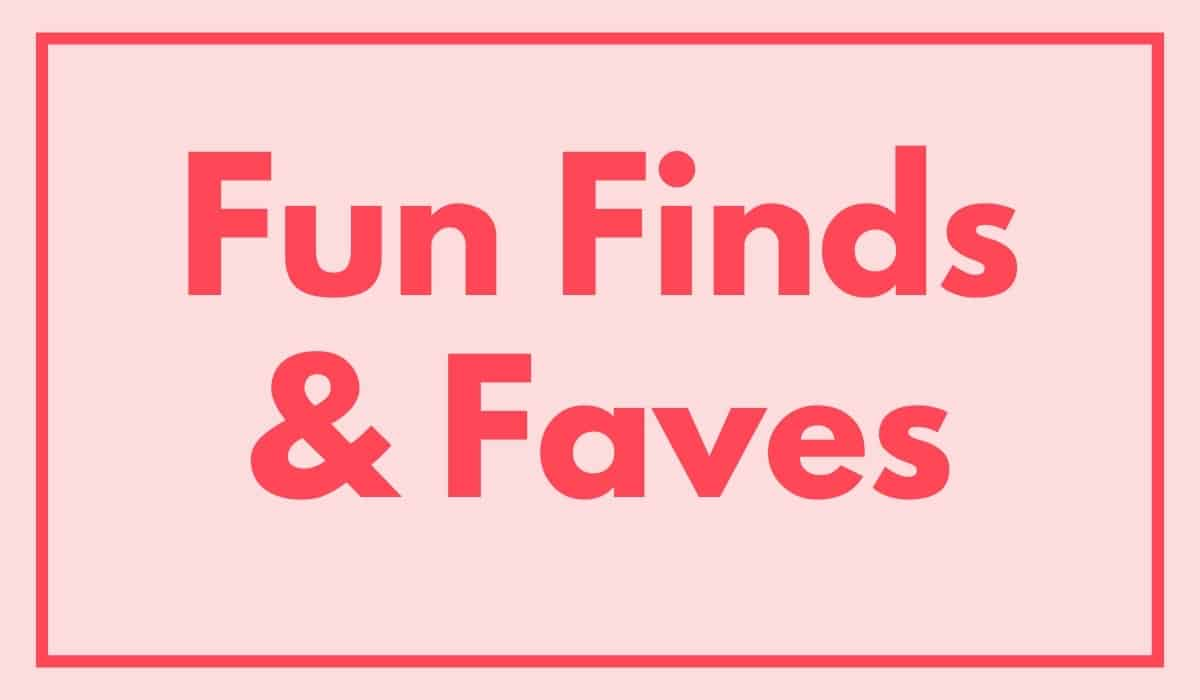 pink box with fun finds text